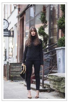 "Black Sweater + Black Skinny Jeans + Leopard Pumps  "" Balenciaga sweater /Saint Laurent jeans/Christian Louboutin heels /Céline bag """