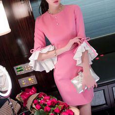 Dresses dress mini ruffle sleeves feminine Ribbon