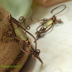Laterna magica * sparkling earrings  yellow chalcedony, copper  * wire wrap * wirewrapping * wire artisan * handmade * wire * work * wirewrapped * wired