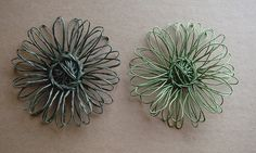 wire flowers made on a vintage flower loom by cathyofcalifornia