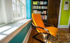 Inside the homes of Philly's interior designers | PhillyVoice_down2earthdesign_ boy bedroom orange chair, green and turquoise walls