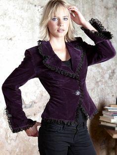 Nomads Purple Velvet Frill Detail Gothic Jacket.