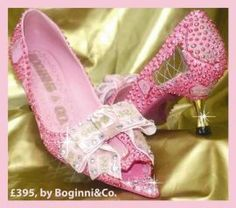 Limited Edition Pink pearl Studs & Glass Crystal bow peep toe Shoes