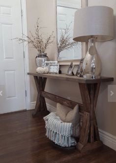 Inspiring Entryway Console Tables Ideas 33 - Home Interior and Design Entryway Console Table, Entryway Decor, Rustic Entryway, Entryway Table Decorations, Kitchen Entryway Ideas, Rustic Hallway Table, Hallway Tables, Skinny Console Table, Rustic Buffet
