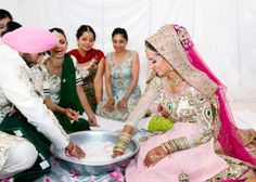 Indian Bride, Indian Wedding, Punjabi Wedding, Pink wedding, Wedding Makeup, Bride, Groom, Wedding Tradition, Punjabi Games, Wedding Games, Pink and Green Wedding, Matching Towels