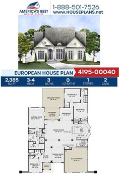 Plan 4195-00040, A European design fulfilled with many features including 2,385 sq. ft., 3-4 bedrooms, 3 bathrooms, a breakfast nook, a grilling porch, a library, a kitchen island and more. Find out more information about this European design on our website. European Plan, European House Plans, Best House Plans, Stair Detail, Roof Detail, Garage Bedroom, Floor Plan Drawing, Basement Windows, Build Your Dream Home