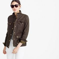"The quintessential cool-girl jacket (aka every girl needs one). In water-resistant waxed cotton with military-inspired pockets and snaps, this is our idea of standard issue. <ul><li>Boxy fit.</li><li>Body length: 25"".</li><li>Sleeve length: 33 1/8"".</li><li>Hits at hip.</li><li>Cotton.</li><li>Standing collar.</li><li>Snap front with hidden zip closure.</li><li>Adjustable waist tabs.</li><li>Chest pockets, hip pockets.</li><li>Machine wash.</li><li>Import.</li></ul>"