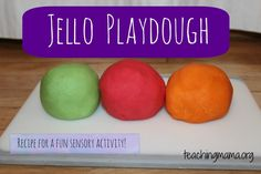 How to Make Jello Playdough -- Seriously.the BEST playdough recipe! This playdough smells and feels AMAZING! Projects For Kids, Diy For Kids, Crafts For Kids, Toddler Crafts, Kids Fun, Art Projects, Slime, How To Make Jello, Sugar Free Jello
