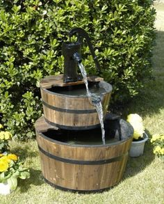 Wood Barrel with Pump Outdoor Water Fountain – Large Garden Water Fountain Product SKU: PL50001.  Garden Fountains Archives - Page 4 of 4 - Best Indoor Fountains