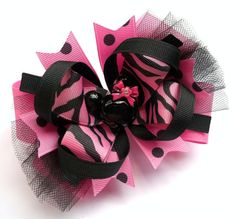 Minnie Boutique Mouse Head Pink And Black MissZebra Minnie Handmade Hair Bow