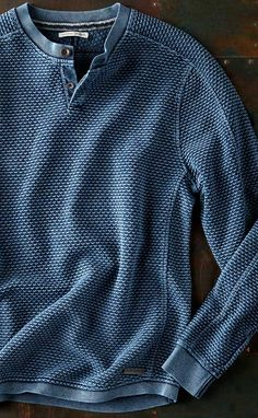 Mistral Henley: Designing in Santa Barbara, we're often inspired by the ocean in our backyard — and this beautifully textured pullover has a rich textured pattern that reminds us of the wind dancing over the ocean — and how much we love being in the outdoors near the water.