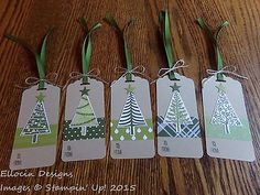 Stampin' Up! Festival of Trees Christmas Hanging Tags - Set of 5