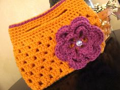 Crocheted Small Boutique Clutch  Gold with Plum by HookedUpByKim, $12.00