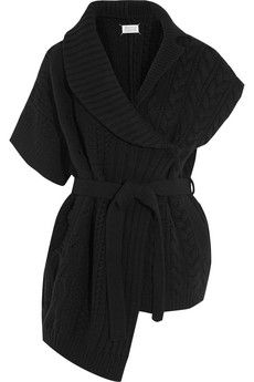 Maison Margiela Asymmetric cable-knit wool cardigan | NET-A-PORTER