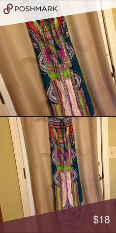 """Bright MultiColored Tribal Strapless Maxi Dress This dress is great for the up coming season! It's bring and fun colored! It's a """"tube top"""" with a teal accent string and then a long flowing dress. NWOT Make an offer! Flying Tomato Dresses Maxi"""