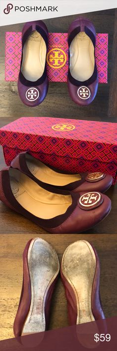 Tory Burch ballet flats Tory Burch ballet flats that hug your foot in great condition gold emblem - maroon color Tory Burch Shoes Flats & Loafers