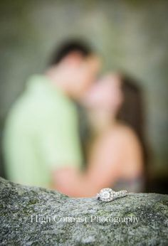 #engagement #photo #ring #focus #kiss #photography by High Contrast Photography
