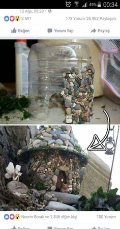 You would never guess it was a plastic bottle. Perfect for a fairy garden. You would never guess it was a plastic bottle. Perfect for a fairy garden. You would never guess it was a plastic bottle. Perfect for a fairy garden. Garden Crafts, Diy Garden Decor, Garden Projects, Garden Art, Garden Ideas, Fairy Crafts, Garden Table, House Projects, Fairy Garden Houses