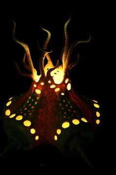 """Купить Светильник """"Рогач"""" - салатовый, свет, авторский светильник, арт-объект, рога, ночник, шерсть"""