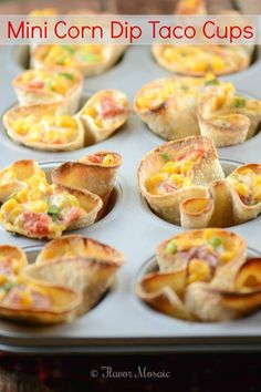 Mini Corn Dip Taco Cups – Delicious Party Food by Flavor Mosaic are crispy mini tortilla cups filled with a creamy cheesy spicy corn dip. These make a delicious holiday party food.  #SeasonedGreetings #shop