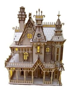 Natural Birch Wood Victorian Doll House Laser Cut Model Kit. Etsy $60
