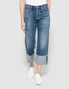 From Citizens Of Humanity, a classic high-waisted jean in Anberlin. Featuring a button fly with branded top button closure, five-pocket styling, belt loops, branded rivets, branded leather patch, fade and whiskering, relaxed fit with an extra long leg tha