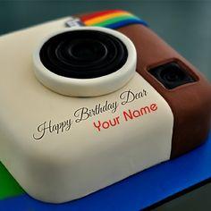 Happy Birthday Instagram Theme Cake With Your Name