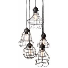 Lazy Susan Wire Five Pendant Lights @Zinc_Door over table?