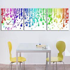 Multi-Color Paint Drops Quality Canvas Prints Set Of 3 Choice Of Clock