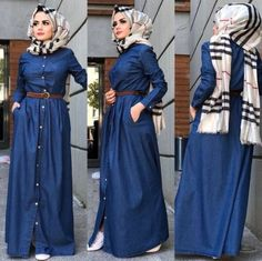 Hijab fashion inspiration – Just Trendy Girls Street Hijab Fashion, Abaya Fashion, Modest Fashion, Fashion Dresses, Muslim Women Fashion, Islamic Fashion, Modest Dresses, Modest Outfits, Hijab Style Dress