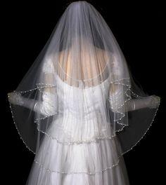 2 Tier Crystal Beaded Pearl Edge Wedding Bridal by WeddingVeilShop