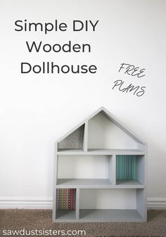 This simple DIY handmade wooden dollhouse makes a great gift. Build it with inex… This simple DIY handmade wooden dollhouse … Wooden Diy, Handmade Wooden, Diy Wooden Projects, Handmade House, Wooden Crates, Cute Furniture, Simple Furniture, Furniture Making, Wood Furniture