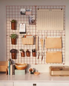 Wall Desk Organizer ~ Urban Outfitters Copper Wire Wall Square Grid, Lostine Copper Cups, and Basketville Upscale Mail Basket