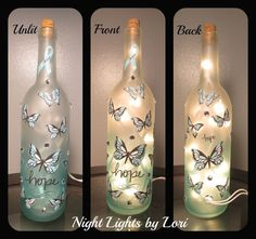 Hey, I found this really awesome Etsy listing at https://www.etsy.com/listing/245412110/teal-butterfly-awareness-wine-bottle