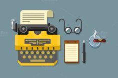 Typewriter with glasses and notepad by Kit8.net on Creative Market