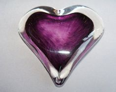 Hand Blown Art Glass Heart Paperweight by Route4glass on Etsy