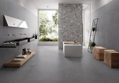 Piase by Emilceramica #emilgroup #tiles #ceramics #floortiles #interiordesign #madeinitaly #architecture #style #bathroom #grey #stoneeffect #home