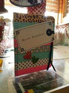 Happy birthday card with tapes and tags