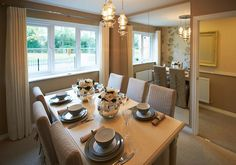 Taylor Wimpey Homes - The Aldenham at Marston Grange, Beaconside, Stafford. Wimpey Homes, New Home Developments, Taylor Wimpey, French Chairs, Table Settings, House Ideas, New Homes, Dining Room, Decor Ideas