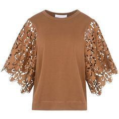 See By Chloé T-shirt ($265) ❤ liked on Polyvore featuring tops, t-shirts, blouses, brown, brown top, brown tee, 3/4 length sleeve t shirts, jersey top and brown t shirt