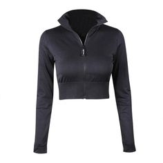 Women's Fashion Stand Collar Zipper Long Sleeves Solid Color Sport Crop Jacket Top For Running Fitness Weight: 210g, Material: Polyester Crop Top Jacket, Girls Crop Tops, Cold Weather Outfits, Running Jacket, Yoga Tops, Workout Tank Tops, Running Women, Jackets For Women, Sweatshirts