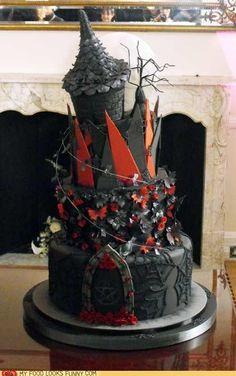Goth:  Goth castle cake.