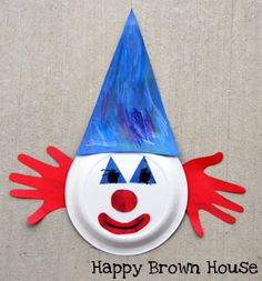 Handprint clown. This would great therapy to cut out the shapes, paste, draw, etc. and something that turns out fun!