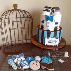 Little man baby shower. Blue and brown color palette custom cookies, sugar Baby sneakers Little Man Cakes, Cakes For Men, Baby Sneakers, Sugar Baby, Custom Cookies, Cake Cookies, Christening, Sweet Treats, Palette