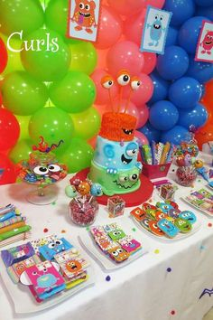 Colorful monsters birthday party! See more party planning ideas at CatchMyParty.com!