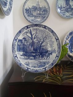 DELFTS BLAUW CHARGER Delft Wagon of Logs in by GuamAntiquesNstuff