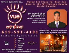 Ad Design Examples - Vue Optique Image Marketing Pros 615-200-7717 Nashville 865-291-0373 Knoxville
