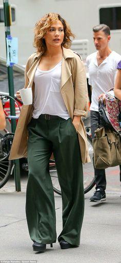 широкие брюки + тренч