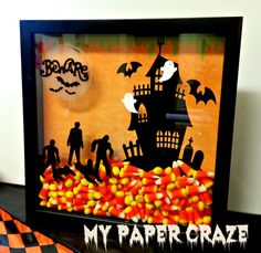 Beware of Zombies Halloween Shadow Box - made with my Silhouette on My Paper Craze