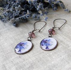 Lovely violet earring  romantic floral earring by OPStyle on Etsy
